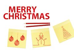 Hand-drawn christmas tree and red balls on three yellow stickers. Greeting card. Vector with pencils on white background. Hand-drawn christmas tree and santa stock illustration