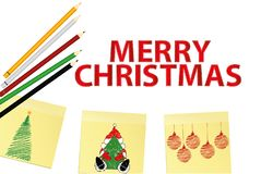 Hand-drawn christmas tree and santa claus and red balls on three yellow stickers. Greeting card. Vector with colorful pencils on. White background stock illustration