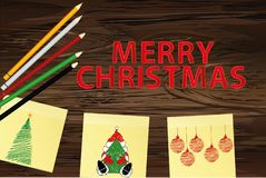 Hand-drawn christmas tree and santa claus and red balls on three yellow stickers. Greeting card. Vector with colorful pencils on. Wooden background stock illustration