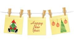 Hand-drawn christmas tree and santa claus and red balls on three yellow stickers. Greeting card. Vector on white background. Hand-drawn christmas tree and santa royalty free illustration