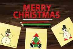 Hand-drawn christmas tree and santa claus and snowman on three yellow stickers. Greeting card. Vector with colorful pencils on. Wooden background vector illustration
