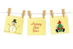 Hand-drawn christmas tree and snowman and red balls on three yellow stickers. Greeting card. Vector on white background.  vector illustration