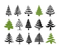 Hand drawn christmas tree set isolated on a white background. Ink vector illustration. Modern brush calligraphy royalty free illustration