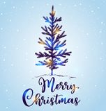 Hand drawn Christmas tree in the snow. On a blue background. Merry Christmas lettering. Design for greeting card Stock Photography