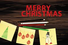 Hand-drawn christmas tree and snowman and red balls on three yellow stickers. Greeting card. Vector with colorful pencils on. Hand-drawn christmas tree and santa royalty free illustration