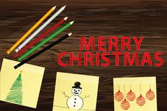 Hand-drawn christmas tree and snowman and red balls on three yellow stickers. Greeting card. Vector with colorful pencils on. Hand-drawn christmas tree and santa vector illustration