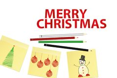 Hand-drawn christmas tree and snowman and red balls on three yellow stickers. Greeting card. Vector with colorful pencils on white. Hand-drawn christmas tree and stock illustration