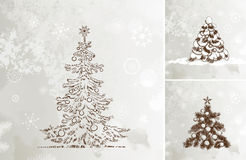 Hand drawn Christmas trees Royalty Free Stock Photography
