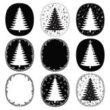 Hand drawn christmas trees and frames  set Stock Photos