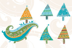 Hand drawn christmas trees set. 8 different isolated christmas trees  - hand drawn artistic design elements Royalty Free Stock Image