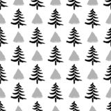 Hand drawn christmas trees with triangles seamless pattern isolated on white background. vector illustration