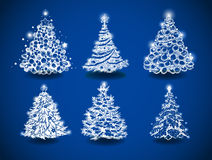 Hand-drawn Christmas trees Royalty Free Stock Image