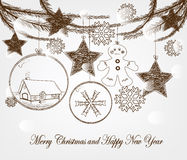 Hand drawn christmas vector. With christmas symbols Royalty Free Stock Images
