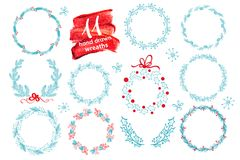 Hand drawn Christmas wreath set with winter floral. Vector illustration. Season greeting card. For your text, lettering, calligrap Stock Photos