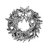 Hand drawn christmas wreath. Sketch. Vector illustration. Stock Image