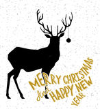 Hand drawn Christmass deer illustration Royalty Free Stock Photos