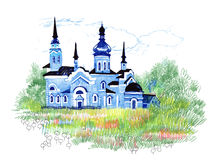 Hand drawn church in the field. Hand drawn blue church in the field Stock Images