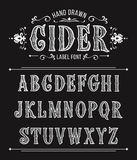 Hand drawn  cider label font for design in vintage style. Vector typeface for labels and any type designs Stock Photos