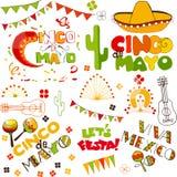 Cinco de mayo doodle elements vector illustration