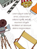 Hand drawn cinema card. Hand drawn vector cinema card which can be used for movie cards, invitation or website. Cinema bright card. Movie design. Film card Royalty Free Stock Images