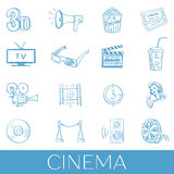Hand drawn cinema icon set Royalty Free Stock Image