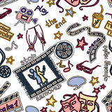 Hand drawn cinema pattern. Colorful vector hand drawn pattern of objects and symbols on the cinema theme Stock Images