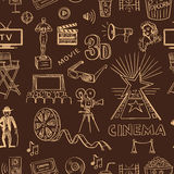 Hand drawn cinema pattern Stock Images