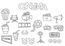 Hand drawn cinema set. Coloring book template.  Outline doodle. Elements vector illustration. Kids game page Stock Photography