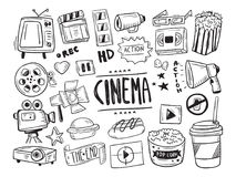 Hand Drawn Cinema Symbol Stock Photos