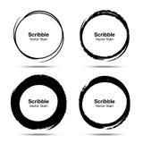Hand drawn circle brush sketch set. Grunge doodle scribble round circles. Brush circular smears. Vector. Hand drawn circle brush sketch set. Grunge doodle royalty free illustration
