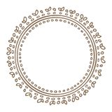 Floral border-20. Hand drawn circle floral border isolated on white background. Design element for home decor, photo frames, branding, greeting cards, textile Royalty Free Stock Image