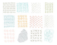 Hand Drawn Circle Hipster Ink Textures. Swirl Retro Patterns for Posters, Flyers and Banner Designs. Vector Brushes Stock Photo