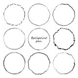 Hand drawn circle line sketch set. Vector circular scribble doodle round circles for message note mark design element. Pencil or p vector illustration