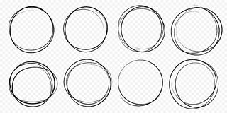 Hand drawn circle line sketch set vector circular scribble doodle round circles royalty free illustration