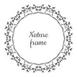 Hand drawn circle nature vector frame (black) with leaves. Vintage style. Royalty Free Stock Image