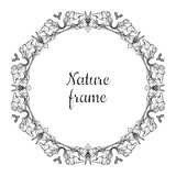Hand drawn circle nature vector frame (black) with leaves. Vintage style. Stock Images
