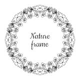 Hand drawn circle nature vintage vector frame (black) with leaves Stock Photo