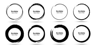 Hand drawn circle sketch set. Grunge doodle scribble round circles for message note mark. Brush circular smears. Vector. Hand drawn circle brush sketch set vector illustration