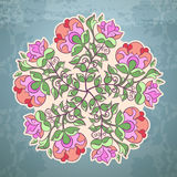 Hand drawn circle, vector decoration. Hand drawn circle floral template on a blue background Vector Illustration
