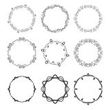 Hand drawn circle vignette frames set isolated Stock Images