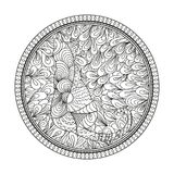 Art creative. Illustration. Hand drawn circle zendala with zen сat. Wallpaper Zentangle. Black and white illustration. Design for spiritual relaxation for Stock Photography