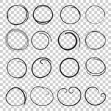 Hand drawn circles icon set. Collection of pencil sketch symbols Royalty Free Stock Photo