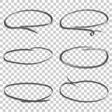 Hand drawn circles icon set. Collection of pencil sketch symbols Royalty Free Stock Image