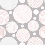 Hand drawn circles seamless patterns. Hand drawn marker and ink seamless circles patterns. Hand drawn circles, triangles, squares, snowflakes, hearts. Scribble Royalty Free Illustration