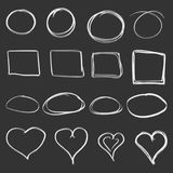 Hand drawn circles, squares and hearts icon set. Collection of p Royalty Free Stock Image