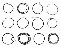 Hand drawn circles. Vector hand drawn scribble style circle templates elements for your design - different style made with free hand isolated on white background Stock Photos