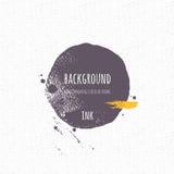 Hand-drawn circular shape. Ink strip, blot, circle. Stock Photography
