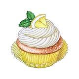 Hand-drawn Citroen Cupcake stock illustratie