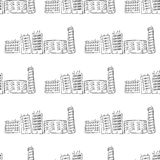Hand drawn city of houses Royalty Free Stock Photos