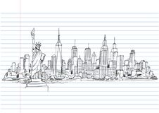 Hand drawn City Sketch for your design,Drawn in black ink. New York  drawing,hand drawn on lined notebook paper.- illustration Stock Photo